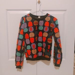 Cute top decorated with mini monsters